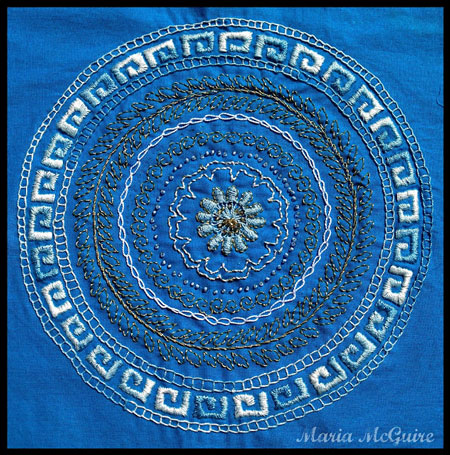 Embroidered Greek Key Circle Stencil - Maria McGuire