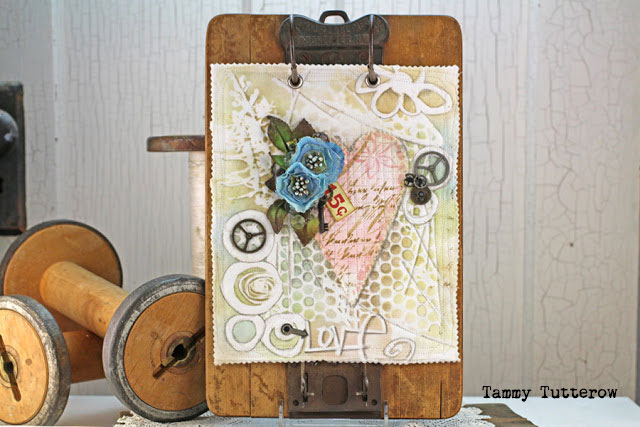 Fabric Art Journaling with Stencils Tutorial by Tammy Tutterow
