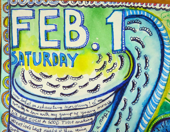 Feb 2014 StencilClub - Art Journal 3 - Janet Joehlin