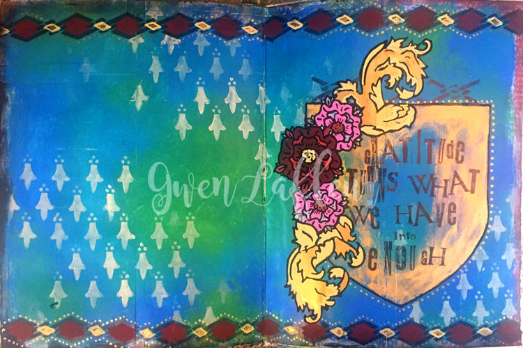 Dec2016 StencilClub - Art Journal 1 - Gwen Lafleur