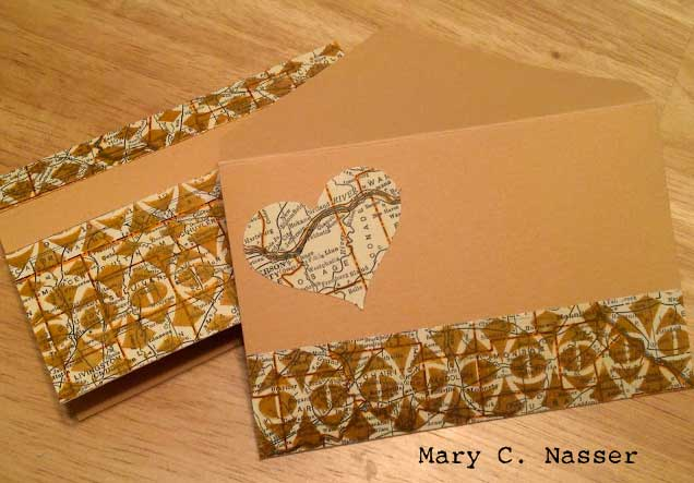 Heart-Map Stenciled Cards by Mary Nasser