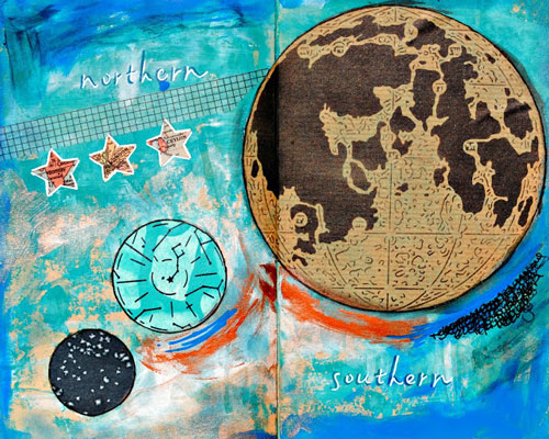 July 2015 StencilClub - Art Journal Page 2 - Mary C Nasser