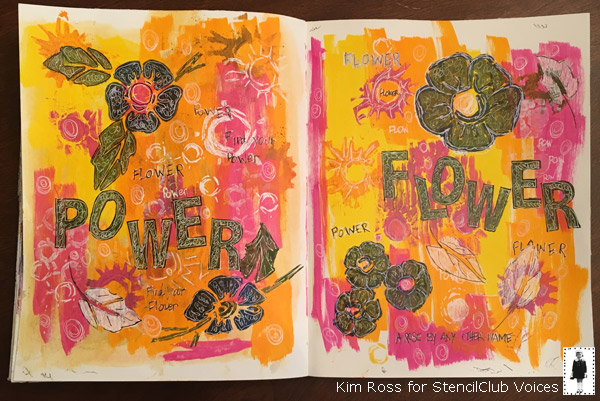 June 2018 StencilClub - Art Journaling - Kim Ross
