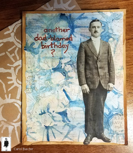 June 2018 StencilClub - Stenciled & Watercolored Cards - Carol Baxter