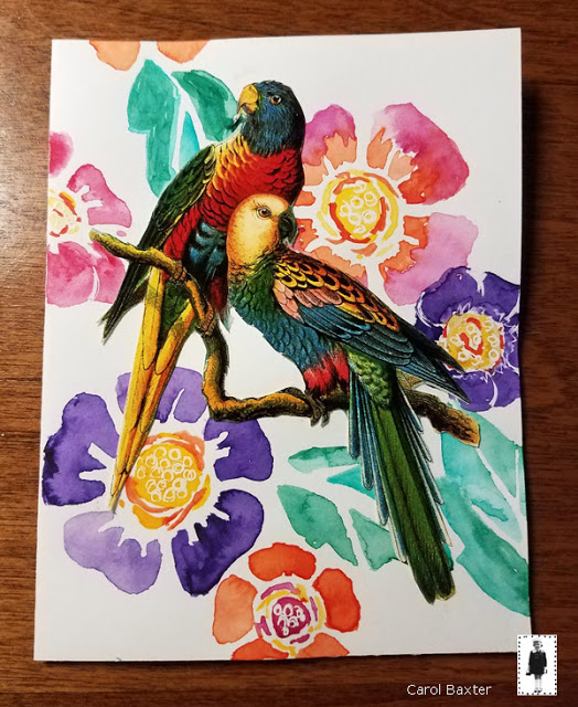 June 2018 StencilClub - Stenciled and Watercolored Cards 2 - Carol Baxter