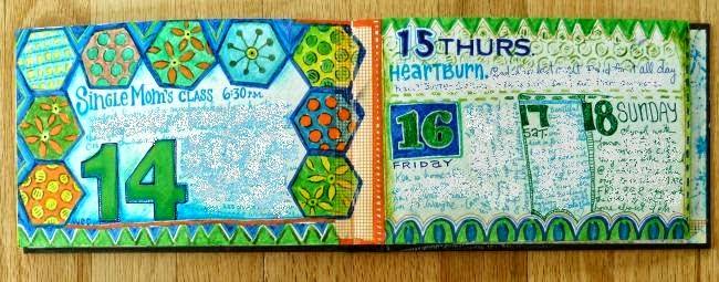 June 2014 StencilClub - Art Journal 1 - Janet Joehlin