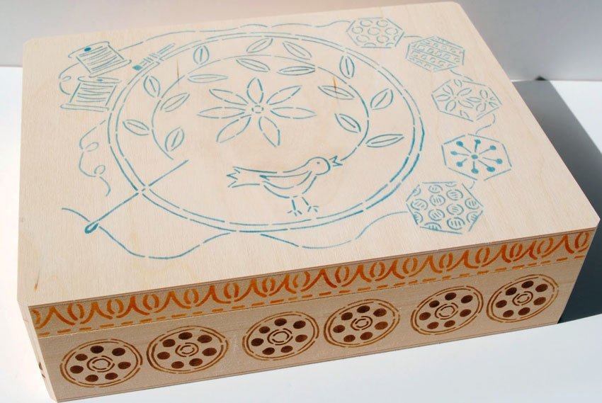 June 2014 StencilClub - Stenciled Box - Mary C. Nasser