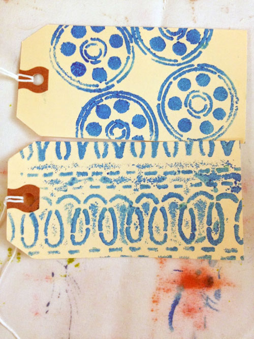 June 2014 StencilClub - Stenciled Tags - Leslie Tucker Jenison