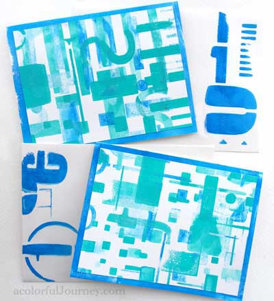 March 2014 StencilClub - Stenciled Cards - Carolyn Dube