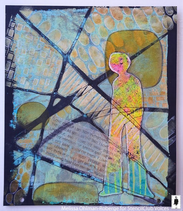 July 2019 Stencil Club - Art Journaling - Melissa