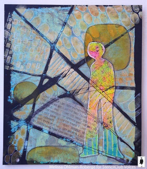 July 2019 Stencil Club - Art Journaling - Melissa