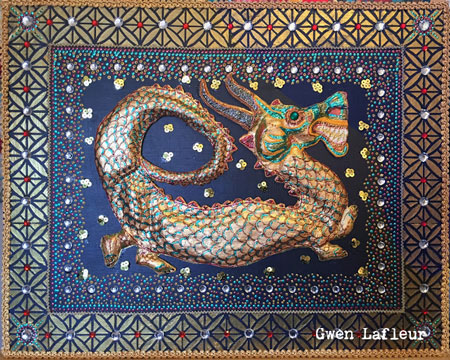 Mixed Media Dragon Kalaga with Stencils - Tutorial by Gwen Lafleur