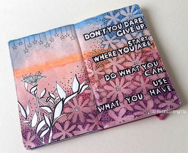Moleskine Art Journaling with Stencils Tutorial - Brigitta Budahazi