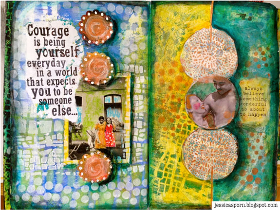 October 2014 StencilClub - Art Journal 1 - Jessica Sporn