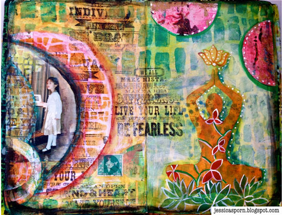 October 2014 StencilClub - Art Journal 2 - Jessica Sporn