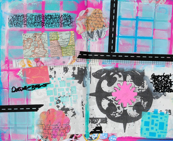Oct2015 StencilClub - Art Journal 1 - Mary Nasser