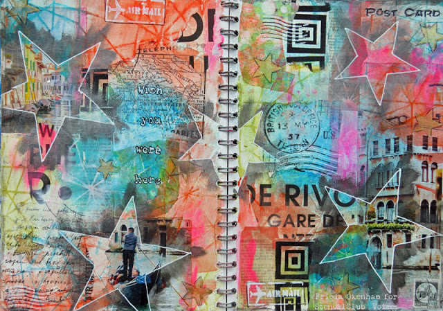 Aug2017 StencilClub - Art Journaling - Frieda Oxenham