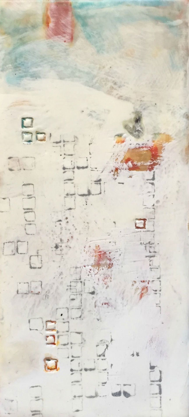 Sept2015 StencilClub - Punch Card 2 Encaustic - Julie Snidle