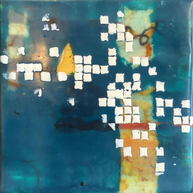 Sept2015 StencilClub - Punch Card 1 Encaustic - Julie Snidle