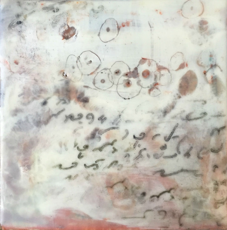 Sept2015 StencilClub - Shorthand 2 Encaustic - Julie Snidle