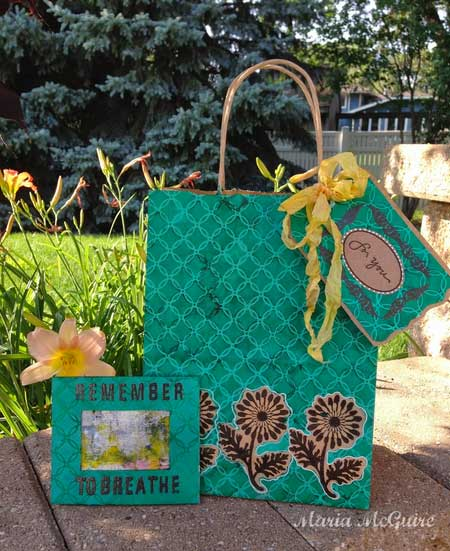 Stenciled Gift Bag & Card by Maria McGuire