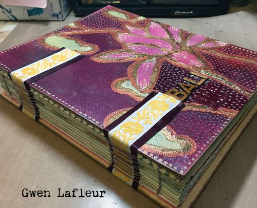 Stenciled Handmade Travel Journal by Gwen Lafleur