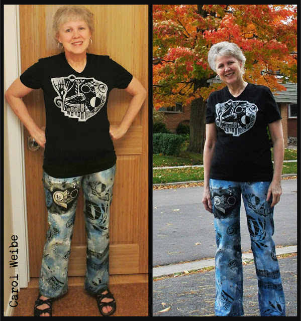Stenciled Jeans and T-Shirt Tutorial by Carol Weibe