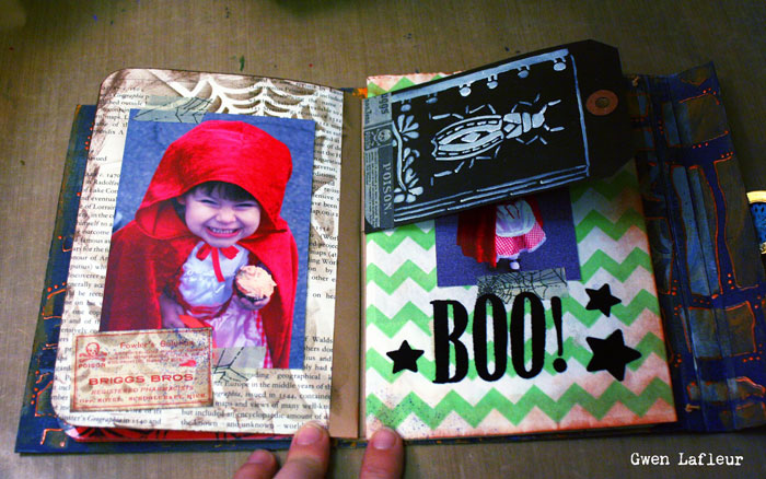Stenciled Mixed Media Halloween Scrapbook Tutorial - Gwen Lafleur