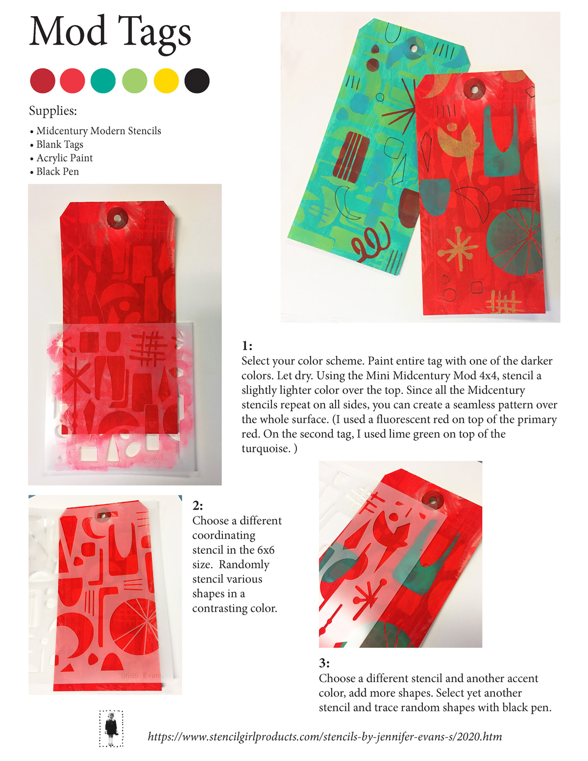 Mod Tags with Stencils and Paint - Tutorial by Jennifer Evans