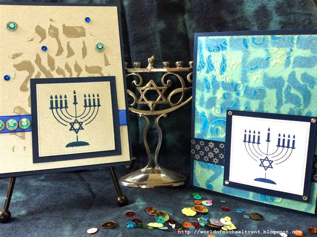 Using Stencils to Make Hanukkah Cards - Michael Trent