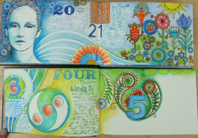 June 2015 StencilClub - Art Journal Dailies - Janet Joehlin