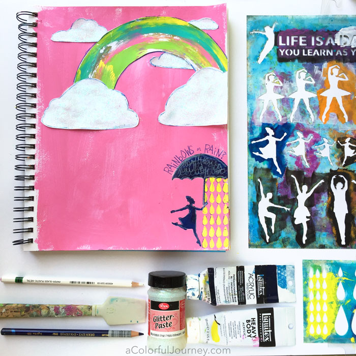 Jun2016 StencilClub - Rainbow Art Journaling - Carolyn Dube