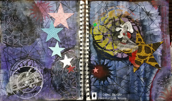 August 2017 StencilClub - Art Journaling - Carol Baxter