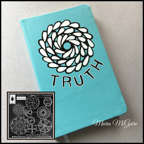 Feb2017 StencilClub - Stenciled Notebook Cover - Maria McGuire