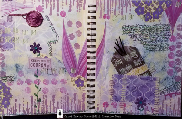 Jan 2019 StencilClub - Art Journaling - Carol Baxter