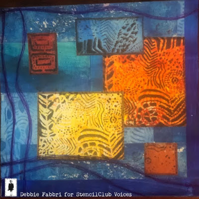 June 2019 StencilClub - Mixed Media Collage - Debbie Fabbri