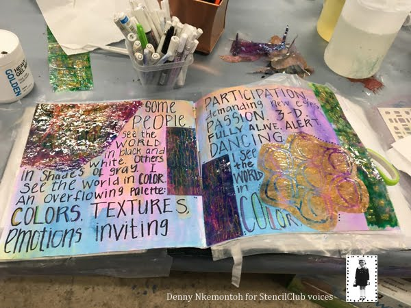 Aug 2019 StencilClub | Art Journaling | Denny Nkemontoh