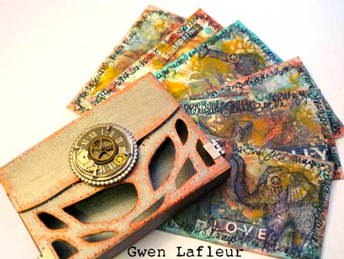 Stenciled Index - Art Journal Cards by Gwen Lafleur