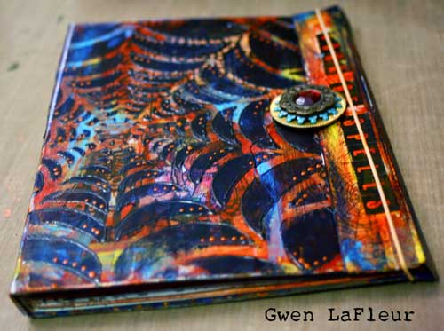 Stenciled Halloween Portfolio Art Journal - Gwen Lafleur
