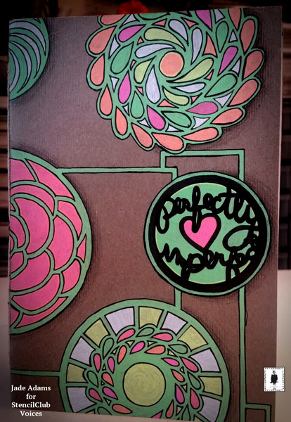 Feb2017 StencilClub - Stenciled Art Journal Cover - Jade Adams