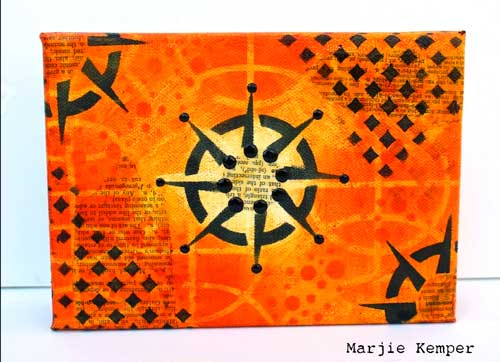 Stenciled Compass Canvas by Marjie Kemper