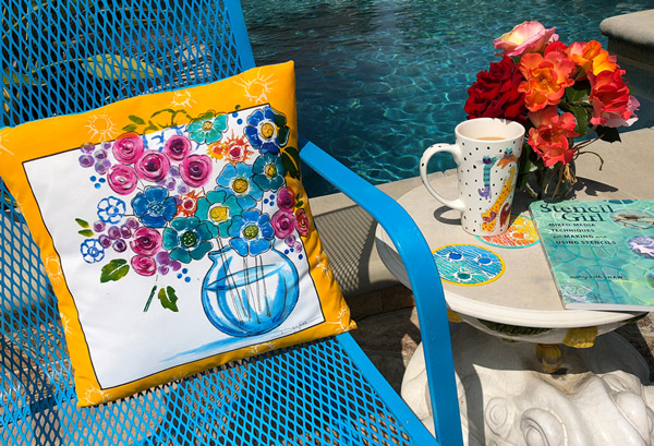 June 2018 StencilClub - Rose Stenciled Pillow - Desiree Habicht