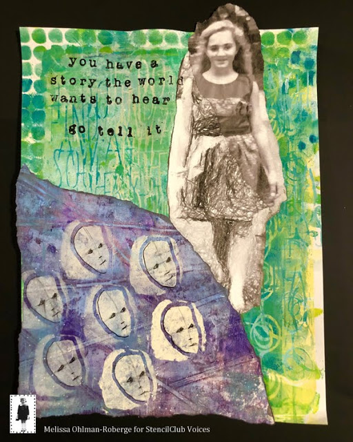 Aug 2019 StencilClub | Art Journal Memory Pocket | Melissa Ohlman-Roberge