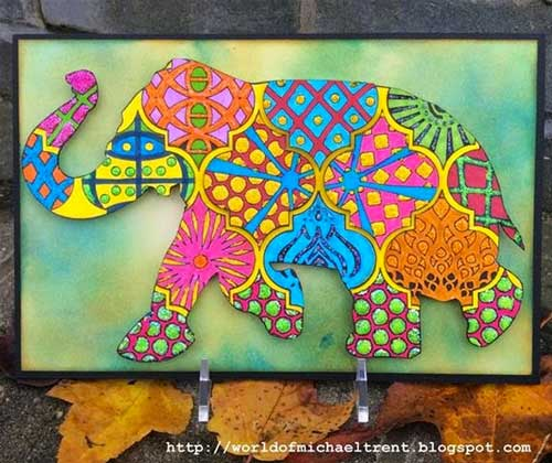 Stenciled Doodled Elephant Card by Michael Trent