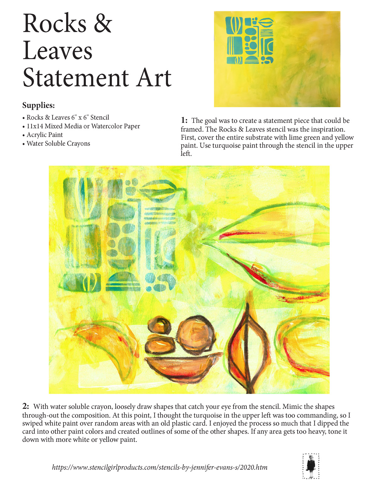 Statement Art with Paint, Stencils, and Watercolor Crayons - Jennifer Evans
