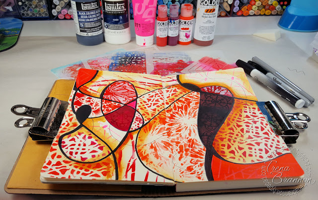 July2016 StencilClub - Art Journal Stendoodle - Trena Lyn Brannon
