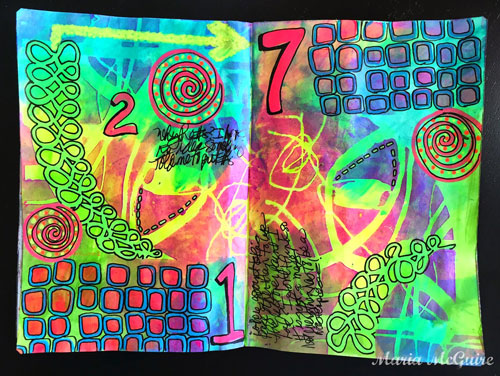 May 2015 StencilClub - Art Journal Spread - Maria McGuire