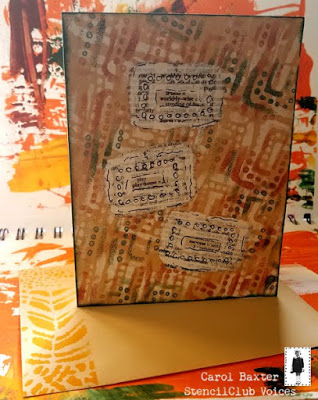June 2019 StencilClub - Stenciled Card - Carol Baxter