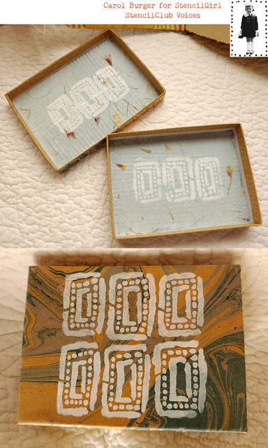 June 2019 StencilClub - Stenciled Tag and Box - Carol Burger