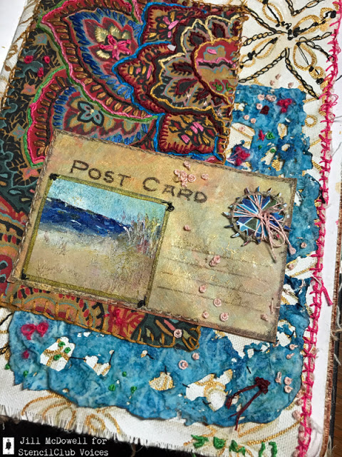 Aug2017 StencilClub - Textile Collage - Jill McDowell